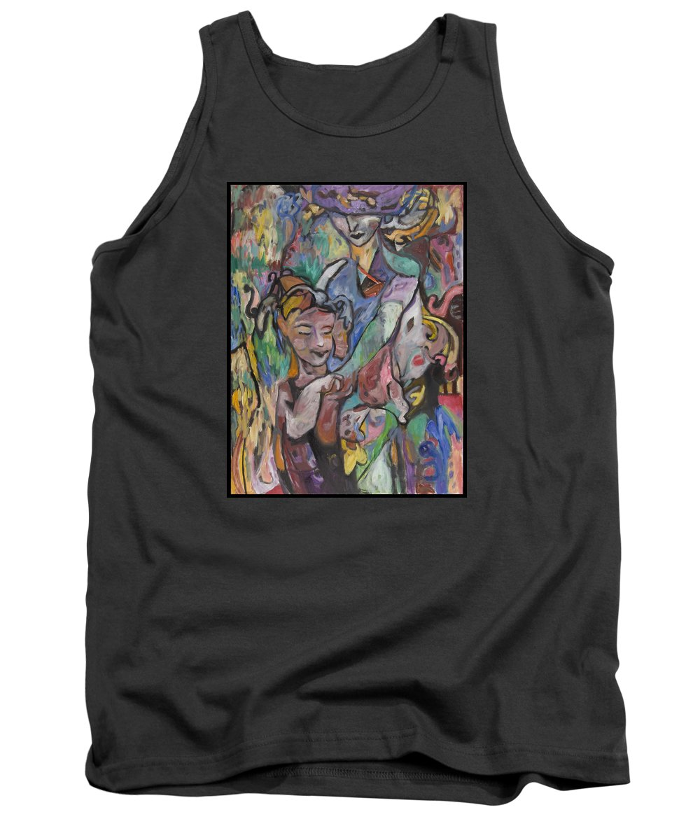 Oil Tank Top featuring the painting The Guardian by Mykul Anjelo