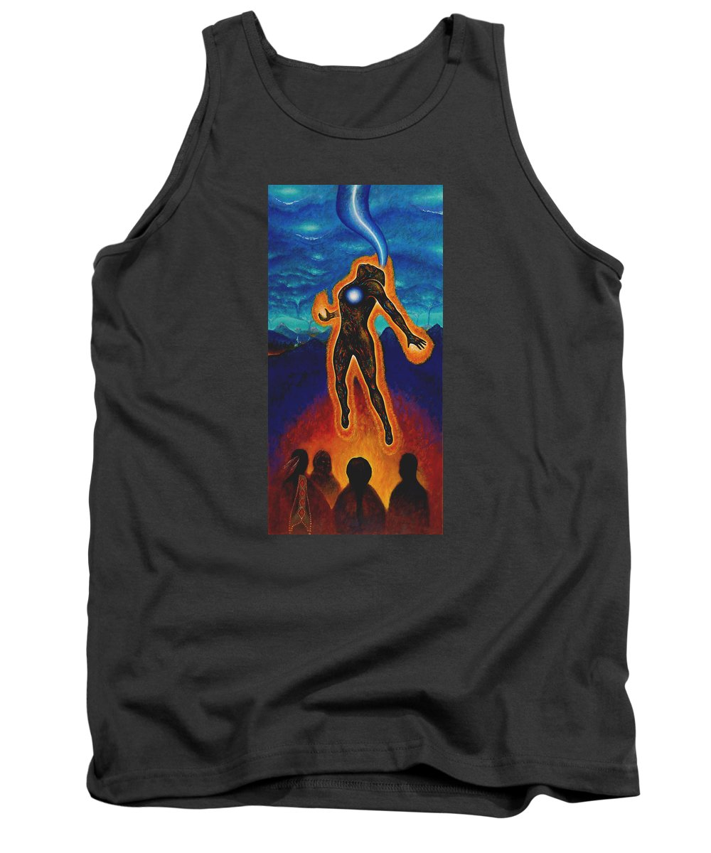 Native American Tank Top featuring the painting The Harvest by Kevin Chasing Wolf Hutchins