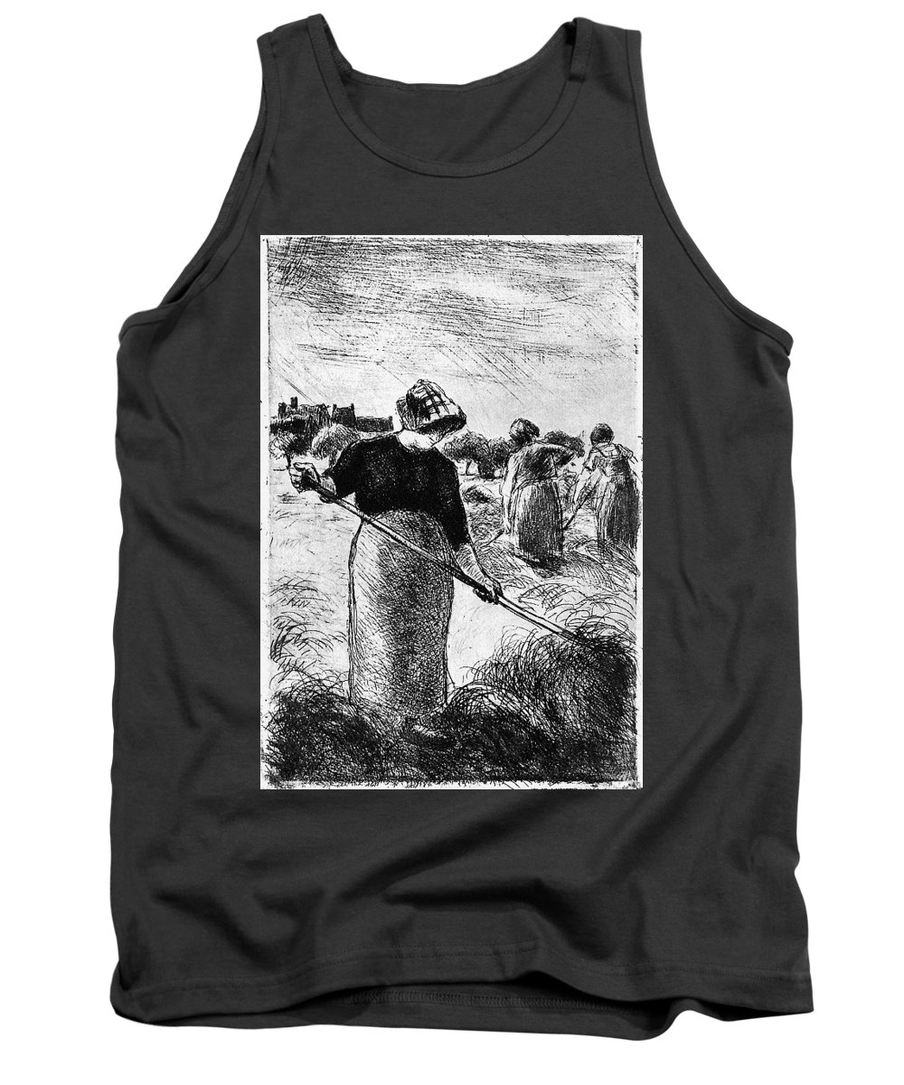 Snow Tank Top featuring the digital art The Hayymaker Camille Pissarro by Eloisa Mannion
