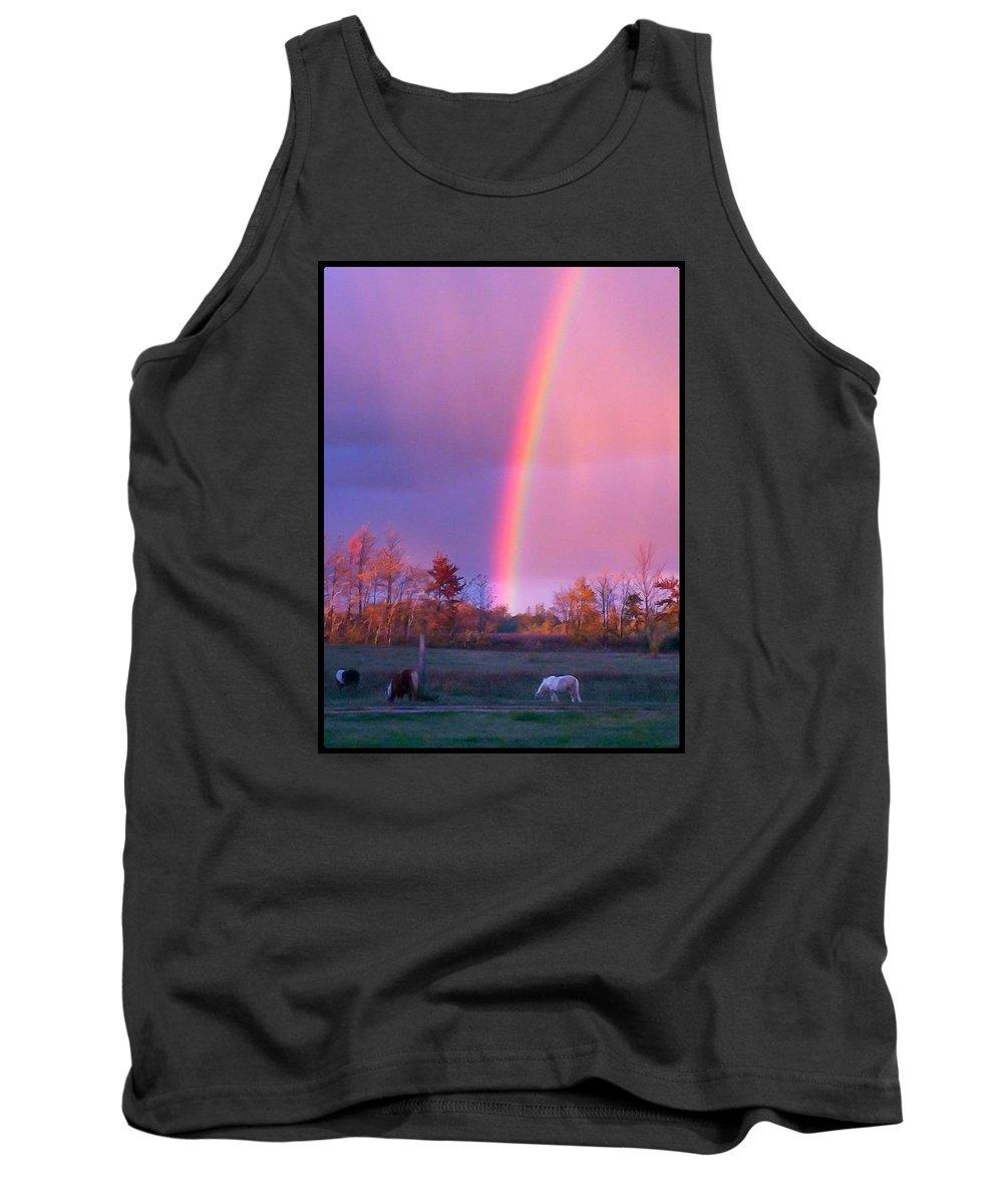 Rainbow Tank Top featuring the photograph The Heavens Awaken by Karen Dzielsky