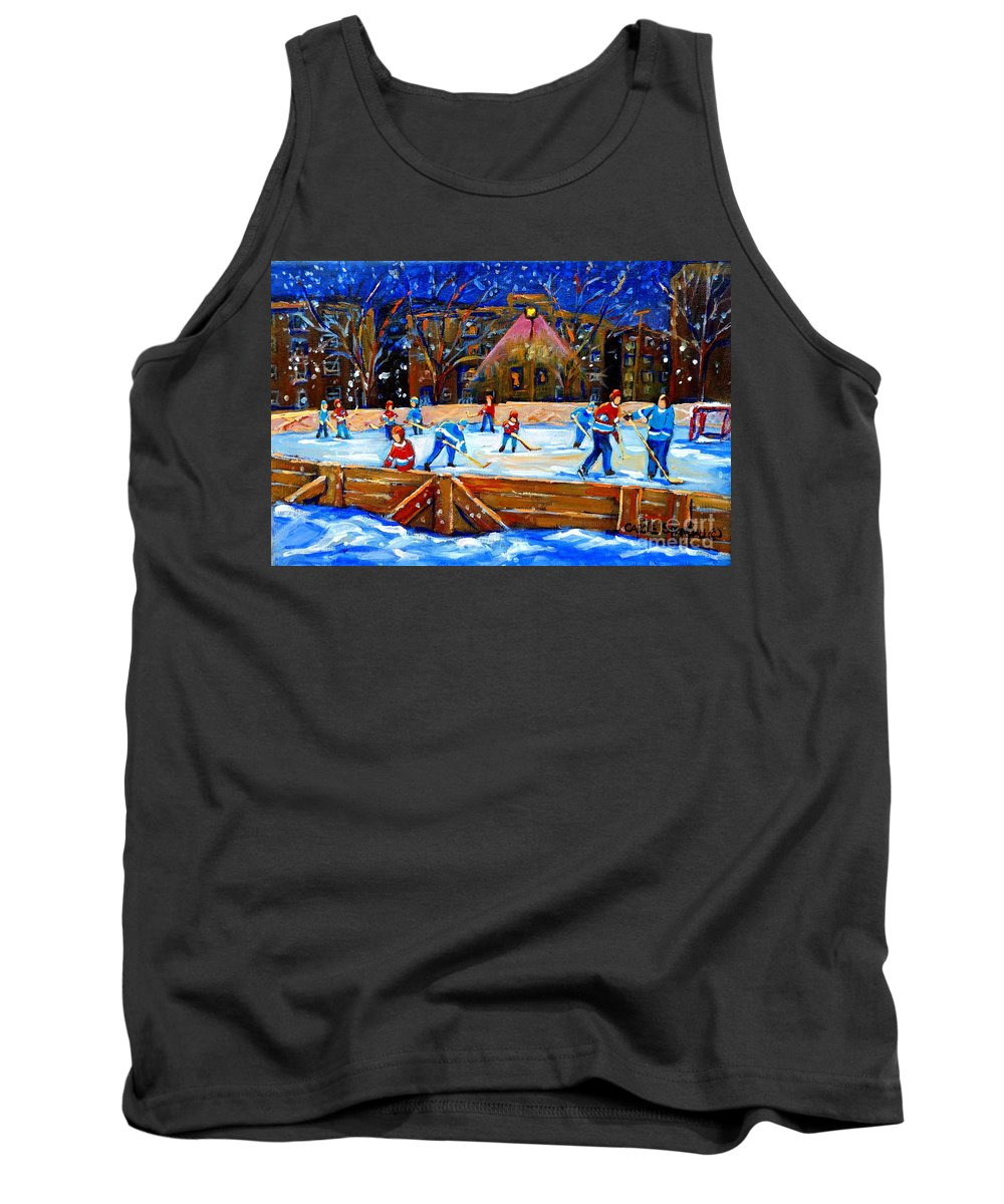 Snow Tank Top featuring the painting The Hockey Rink by Carole Spandau