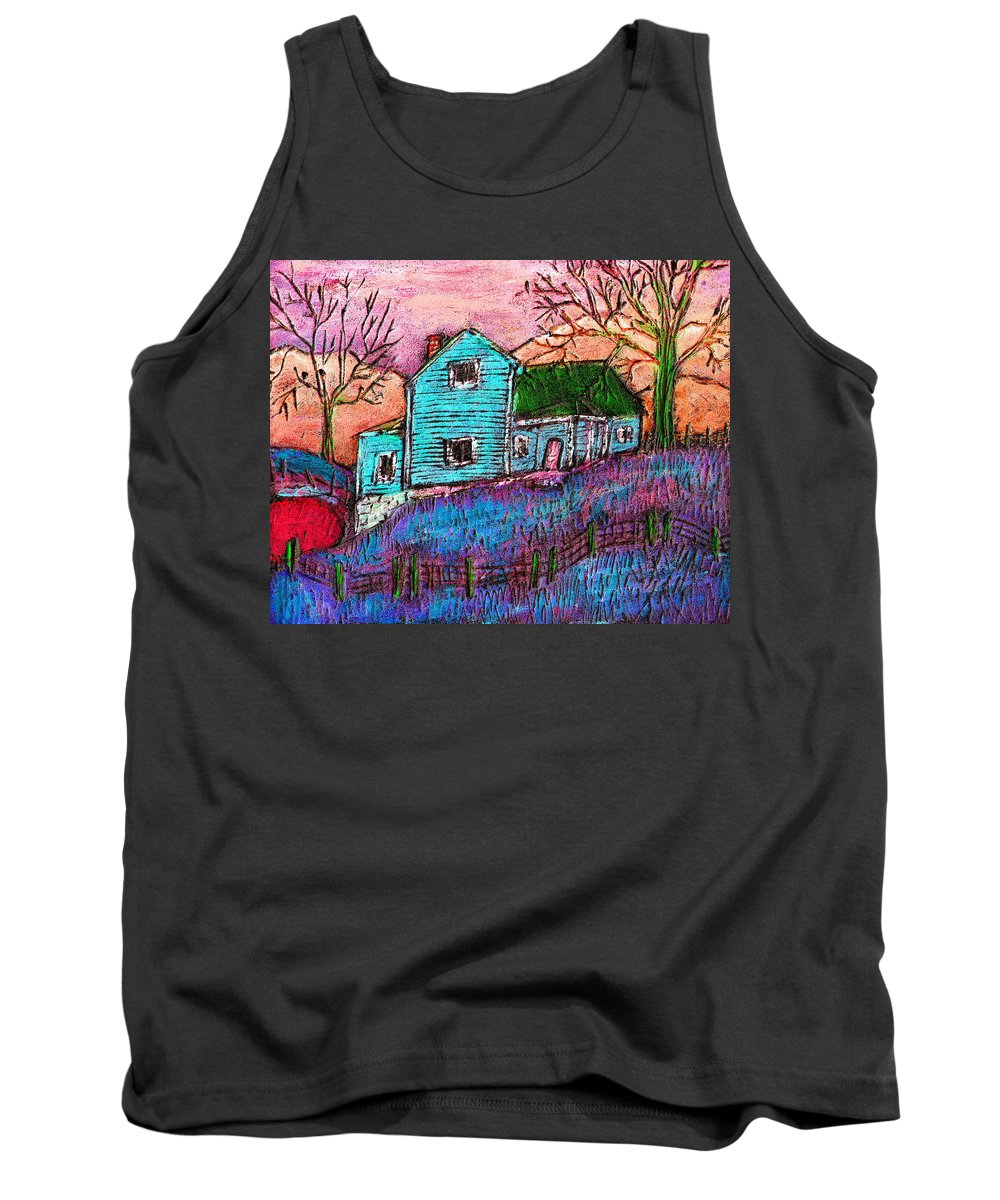 Farm Tank Top featuring the painting The Homestead I by Wayne Potrafka