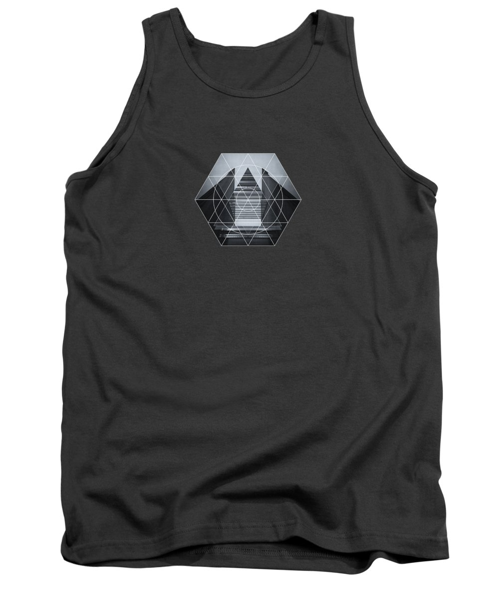 Back White Tank Top featuring the photograph The Hotel Experimental Futuristic Architecture Photo Art In Modern Black And White by Philipp Rietz