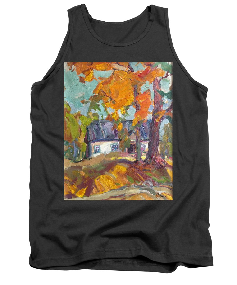 Oil Tank Top featuring the painting The House In Chervonka Village by Sergey Ignatenko