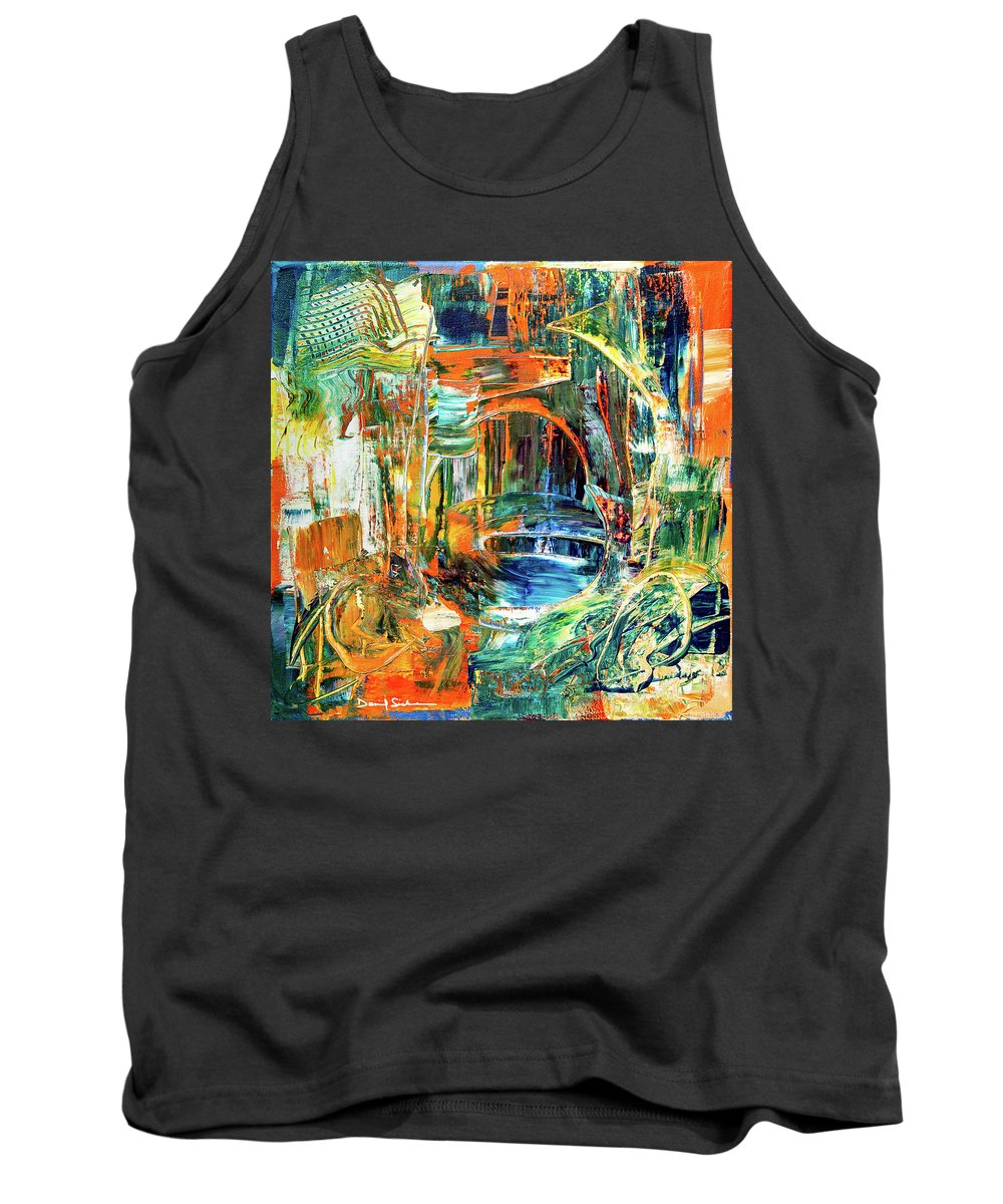 Abstract Tank Top featuring the painting The Journey Inward by Dan Sisken