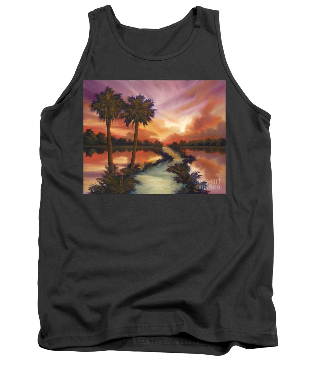 Skyscape Tank Top featuring the painting The Lane Ahead by James Christopher Hill