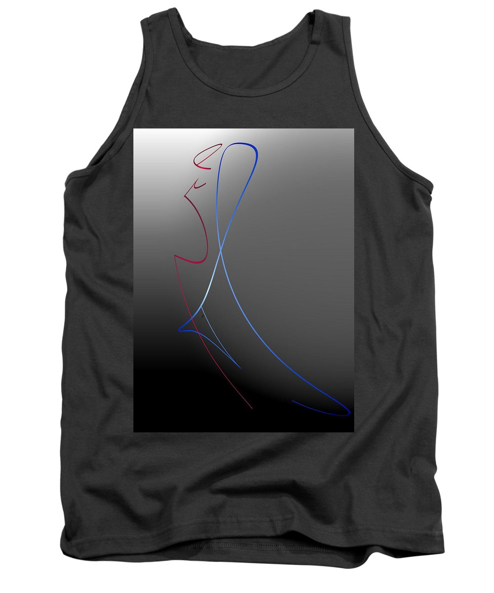 Abstract Tank Top featuring the digital art The Last Dance by John Krakora