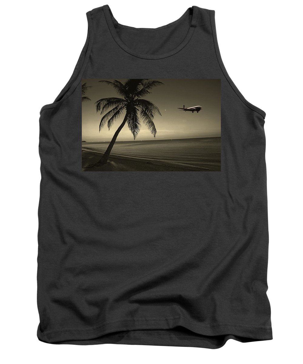 Palm Tank Top featuring the photograph The Last Flight Out by Susanne Van Hulst