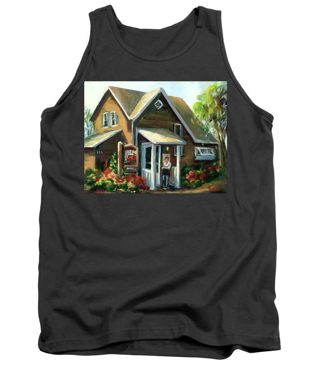 The Lazy Susan Tank Top featuring the painting The Lazy Susan - Your Table Is Ready by Sharon Abbott-Furze