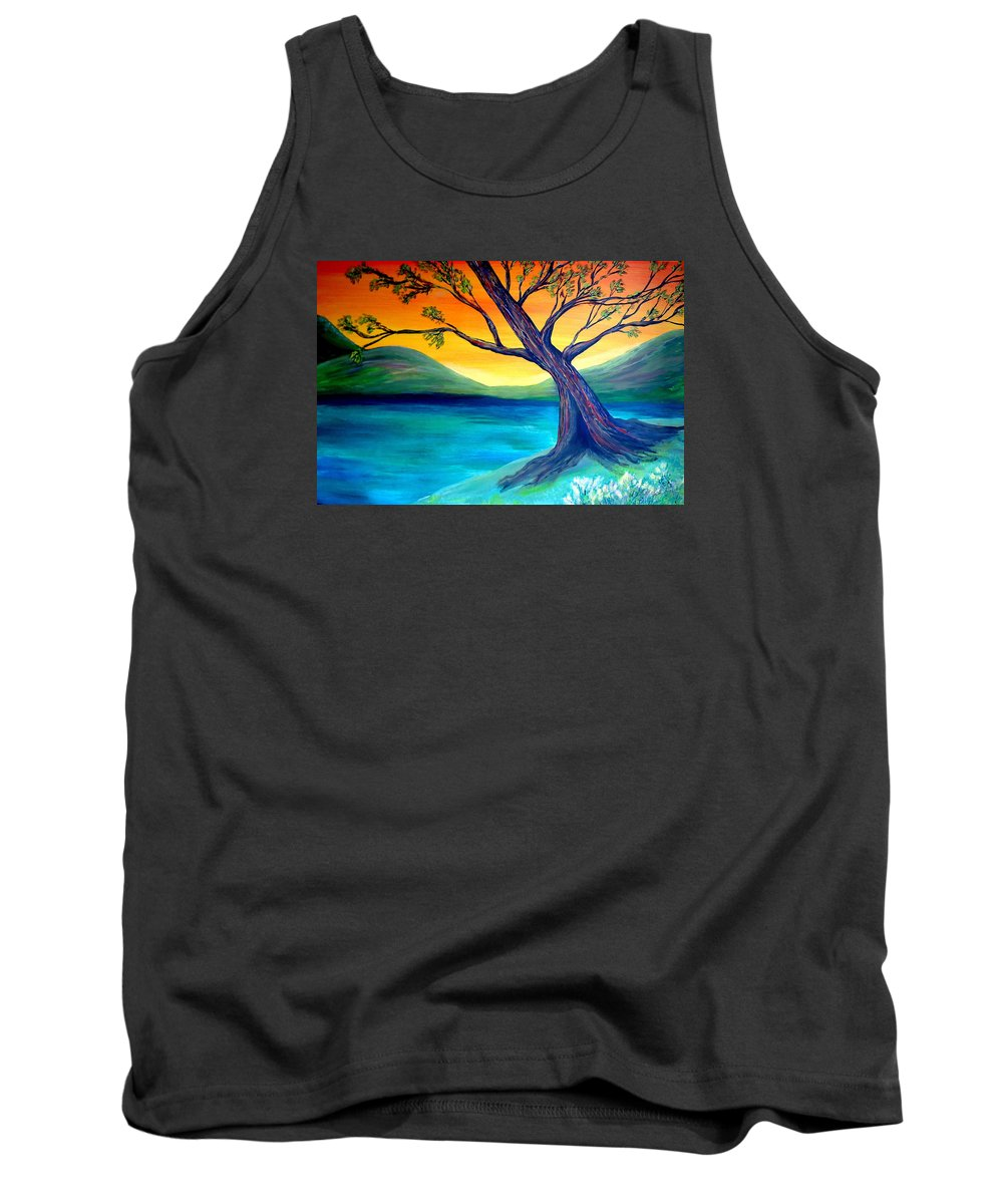 Landscape Tank Top featuring the painting The Leaning Tree by Lynda Luburic