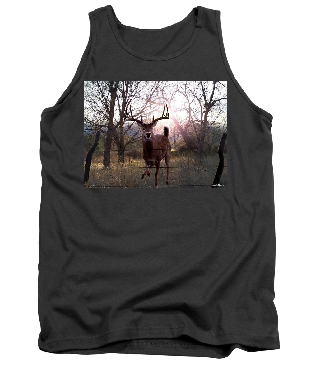 Whitetail Deer Tank Top featuring the digital art The Leap by Bill Stephens