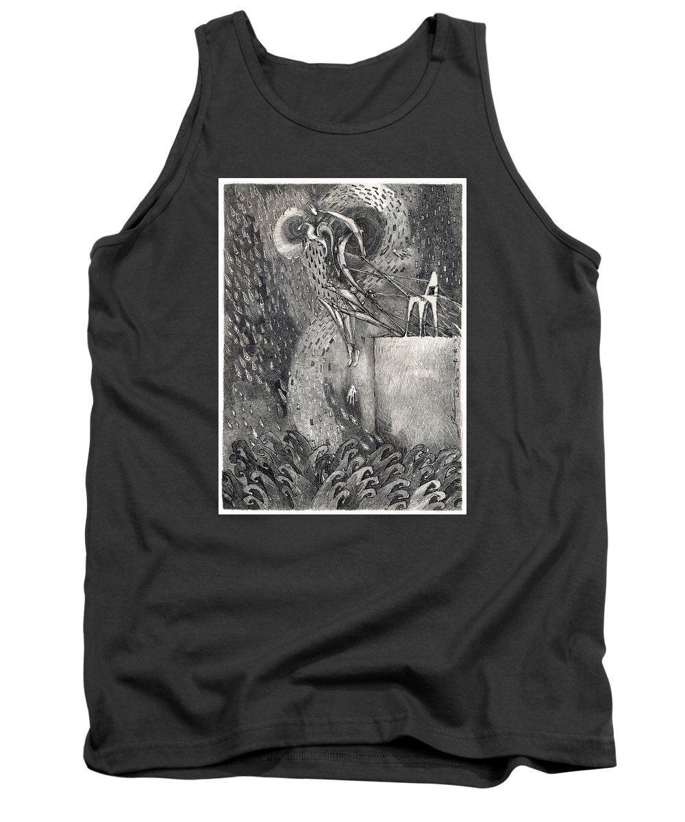 Leap Tank Top featuring the drawing The Leap by Juel Grant
