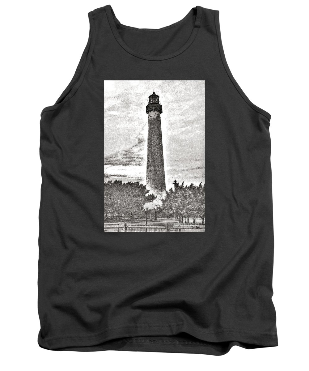 Coast Tank Top featuring the digital art The Lighthouse At Cape May by Dan Stone