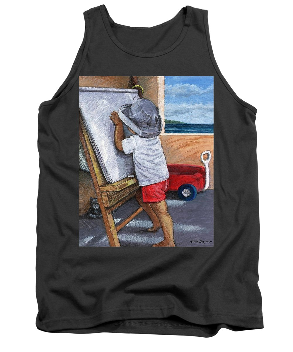 Young Artist Tank Top featuring the painting The Little Artist by Snake Jagger