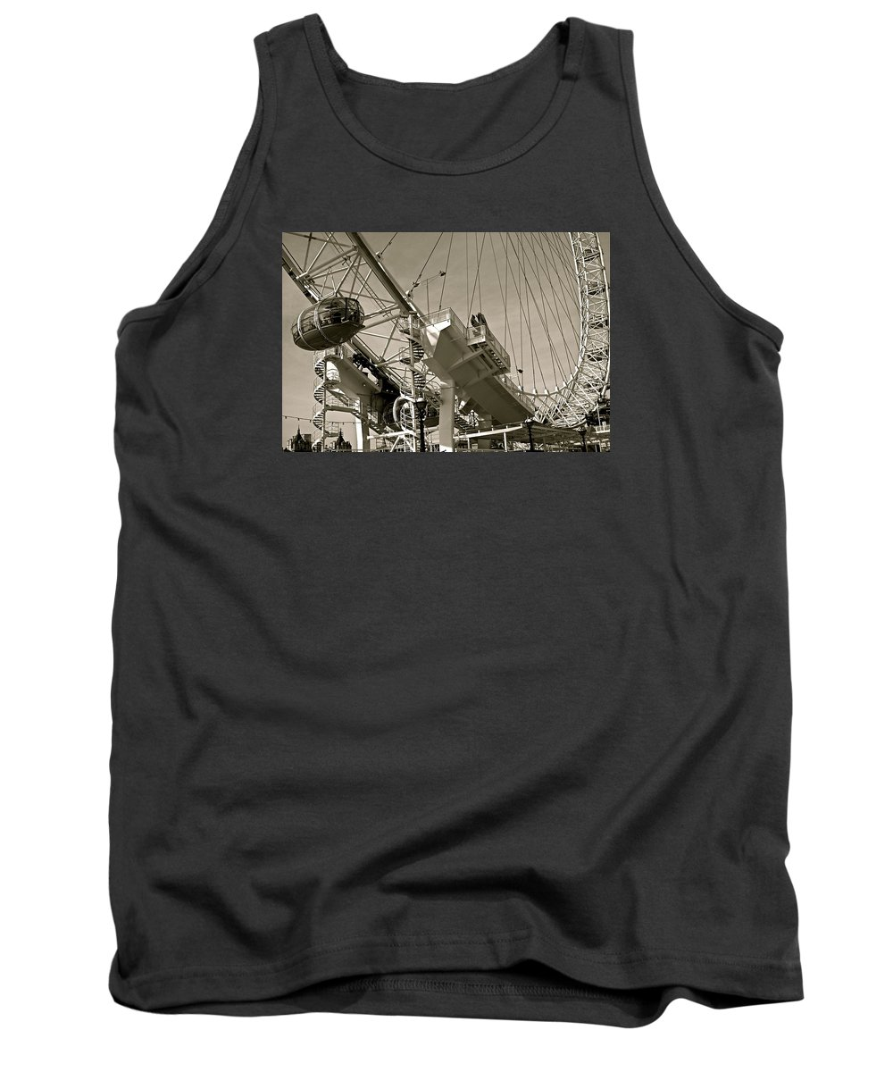 Wheel Tank Top featuring the photograph The London Eye In Sepia by Venetia Featherstone-Witty