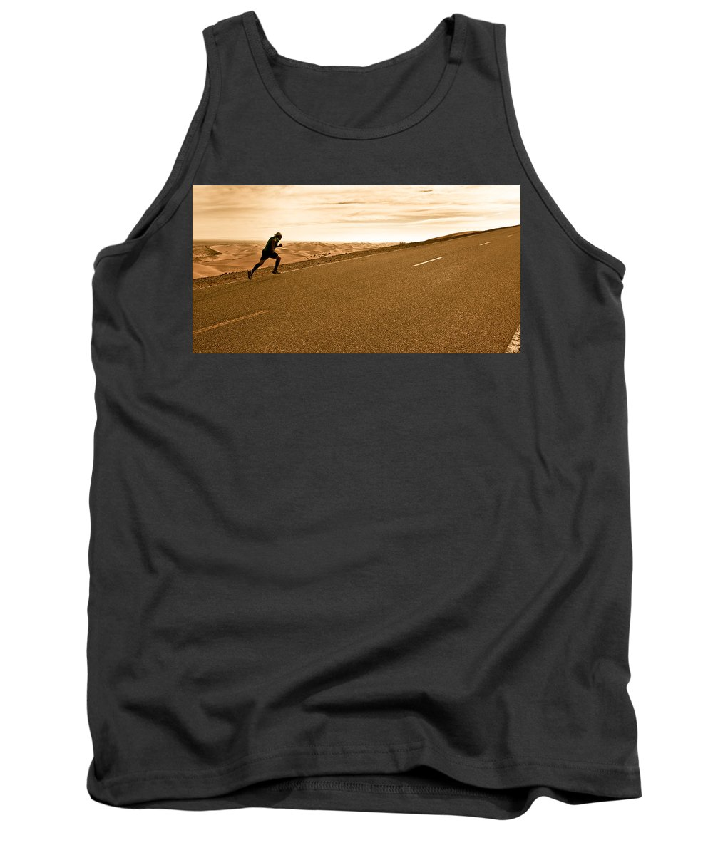Run Tank Top featuring the photograph The Long Road by Scott Sawyer