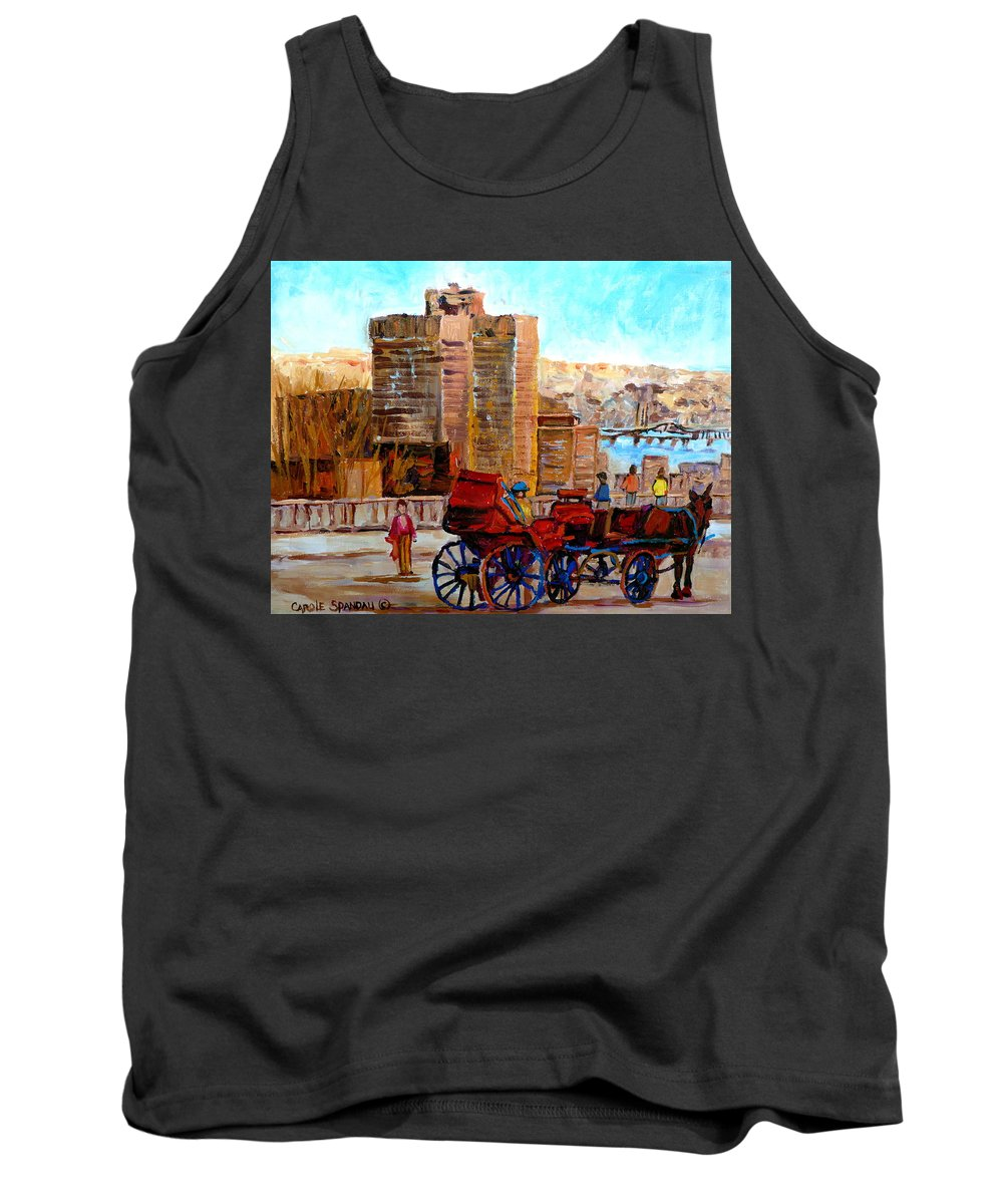 Montreal Street Scene Tank Top featuring the painting The Lookout On Mount Royal Montreal by Carole Spandau