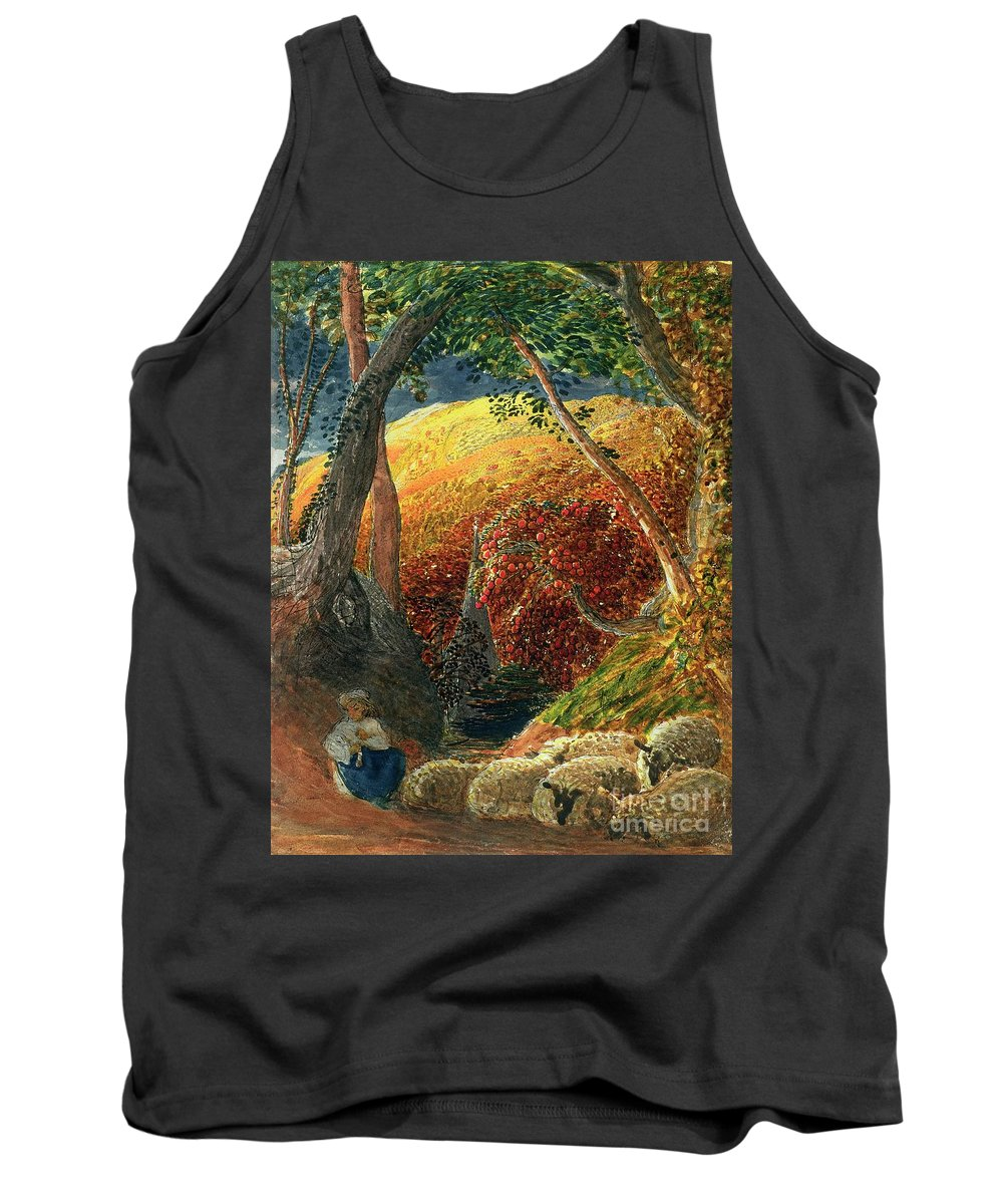 The Magic The Magic Apple Tree (indian Ink & W/c) By Samuel Palmer (1805-81) Tank Top featuring the painting The Magic Apple Tree by Samuel Palmer