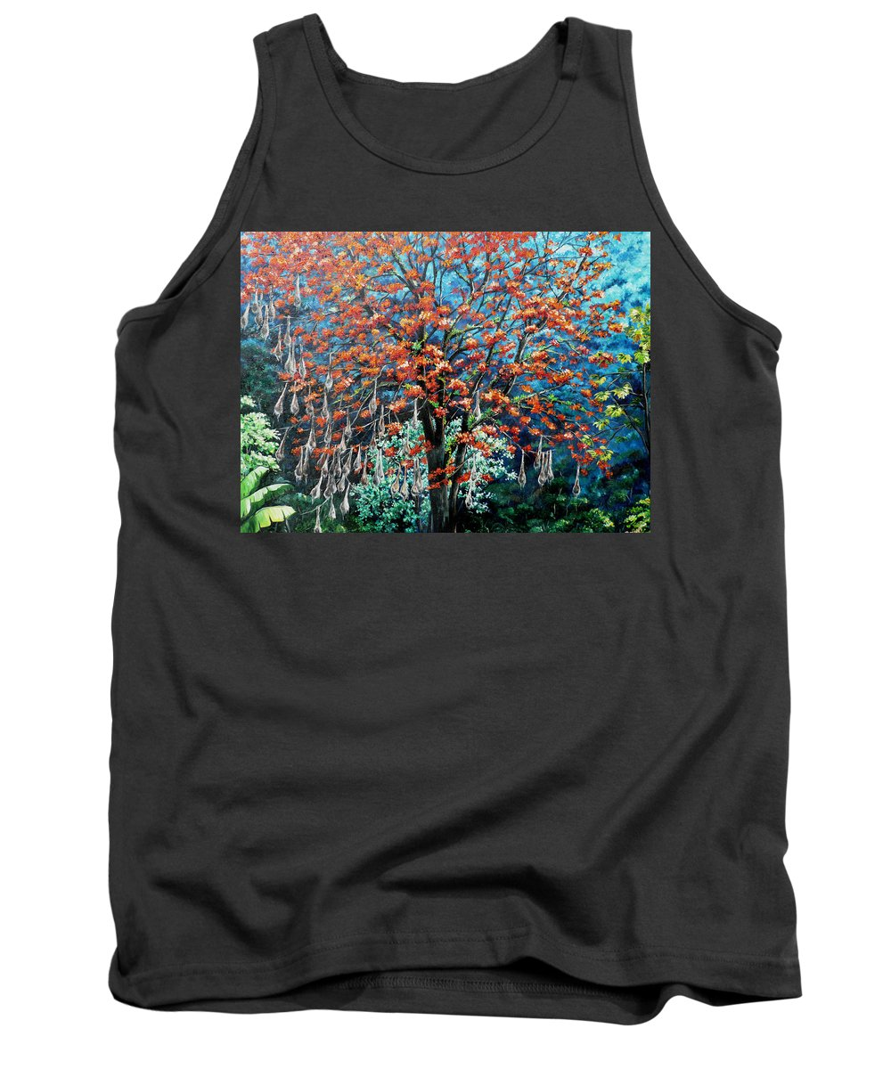 Tree Painting Mountain Painting Floral Painting Caribbean Painting Original Painting Of Immortelle Tree Painting  With Nesting Corn Oropendula Birds Painting In Northern Mountains Of Trinidad And Tobago Painting Tank Top featuring the painting The Mighty Immortelle by Karin Dawn Kelshall- Best