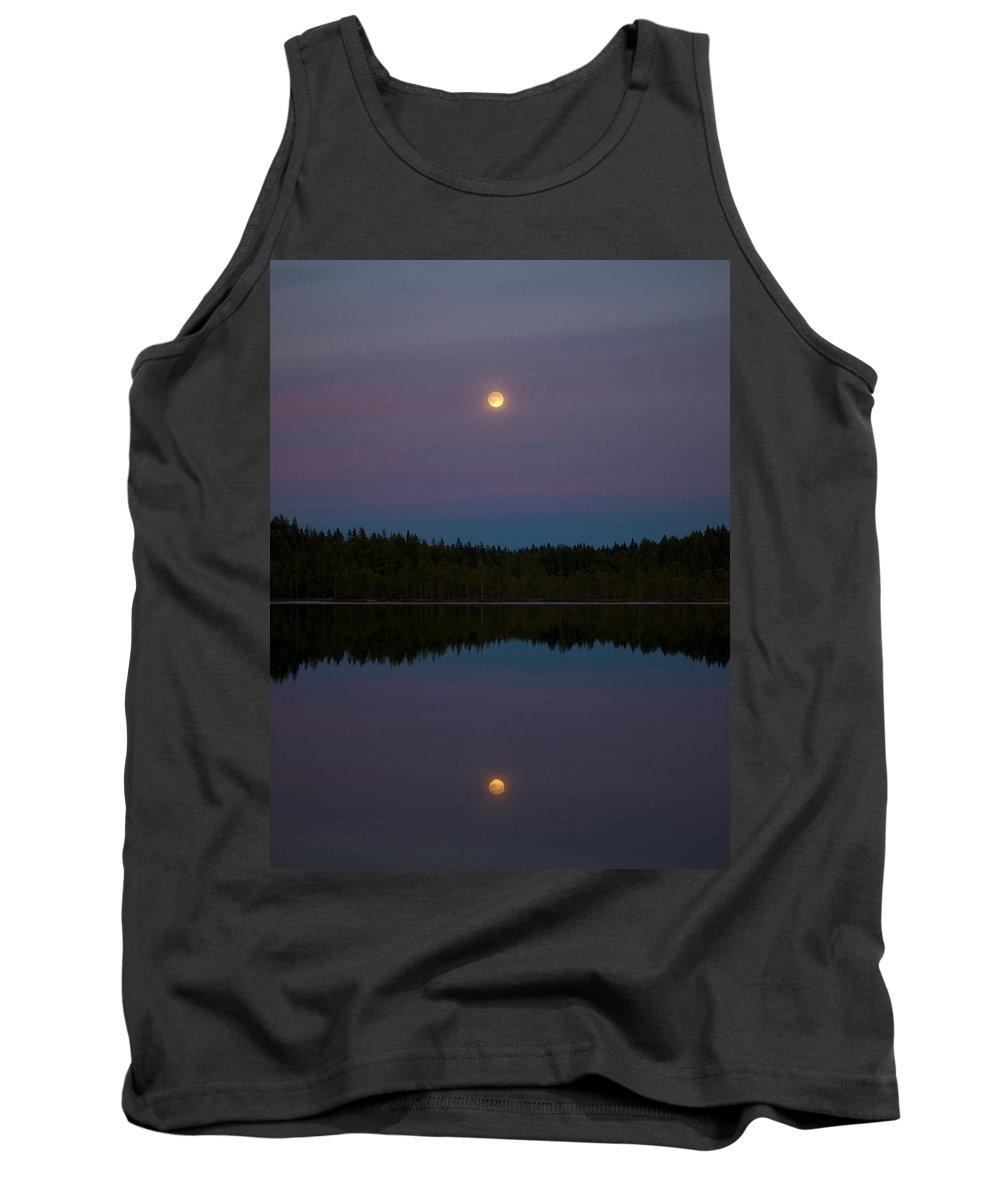 Lehtokukka Tank Top featuring the photograph The Moon Over Kirkas-soljanen 3 by Jouko Lehto