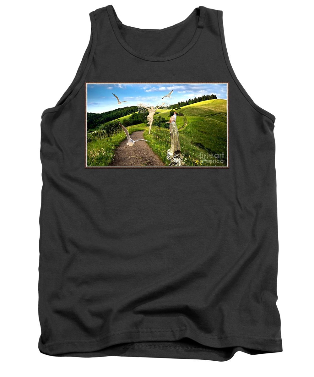 Modern Painting Tank Top featuring the mixed media The Mountain Road 1 by Pemaro