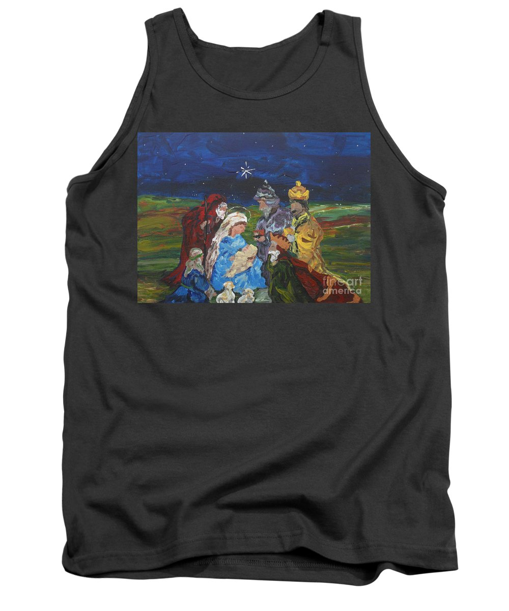 Nativity Tank Top featuring the painting The Nativity by Reina Resto