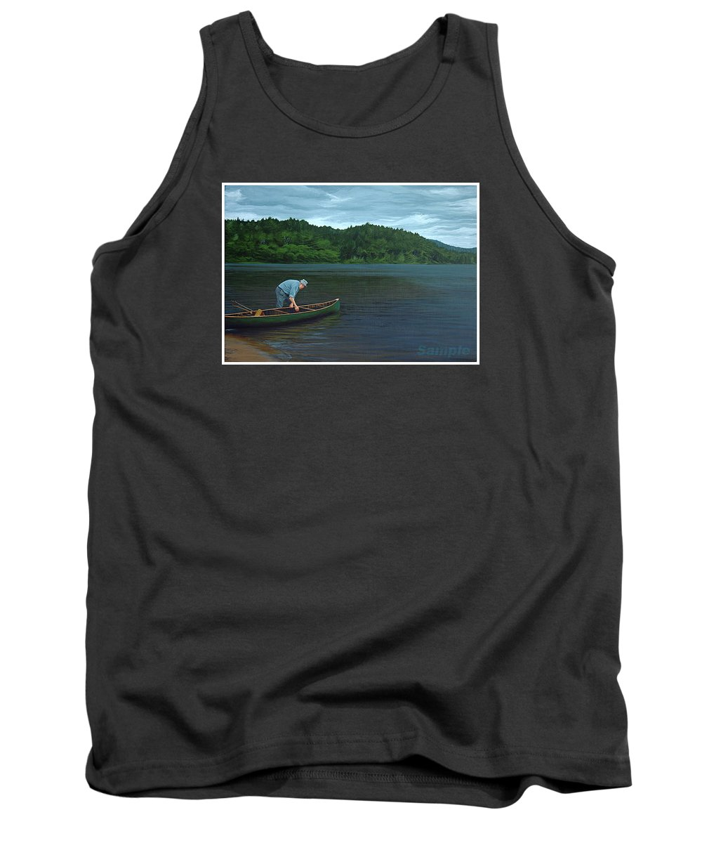 Landscape Tank Top featuring the painting The Old Green Canoe by Jan Lyons