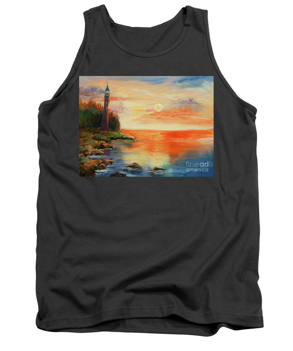Original Tank Top featuring the painting The Old Lighthouse by Kristian Leov