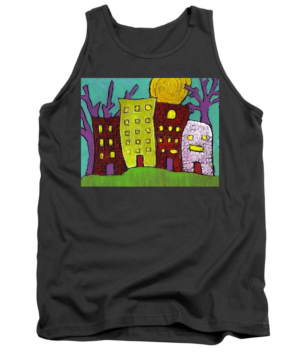 Buildings Tank Top featuring the painting The Old Neighborhood by Wayne Potrafka