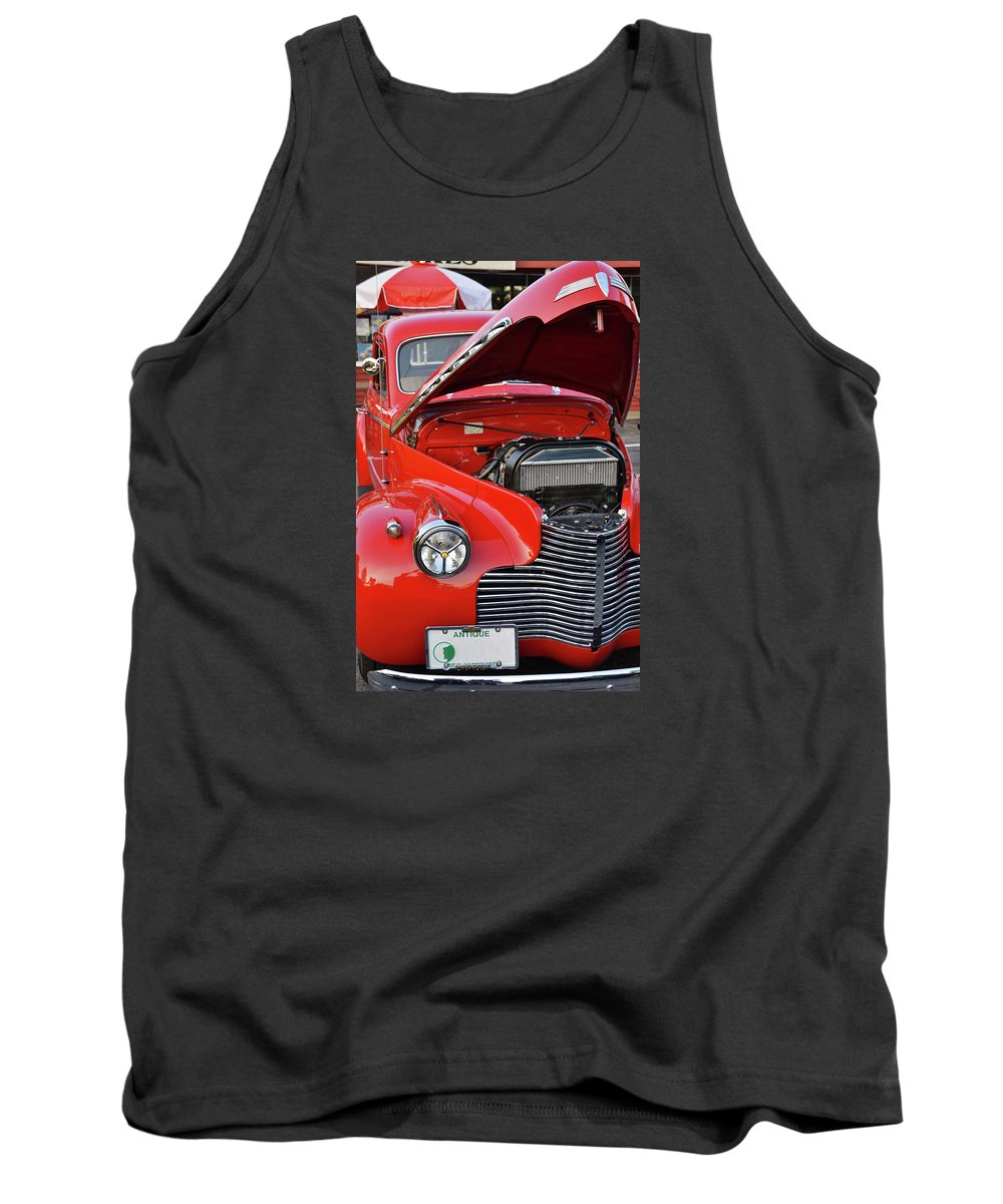 Jalopy Tank Top featuring the photograph The Old Red Jalopy by Marjorie Stevenson