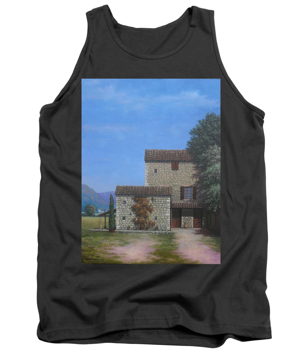 Landscape Tank Top featuring the painting The Olive Mill Province by Sean Conlon