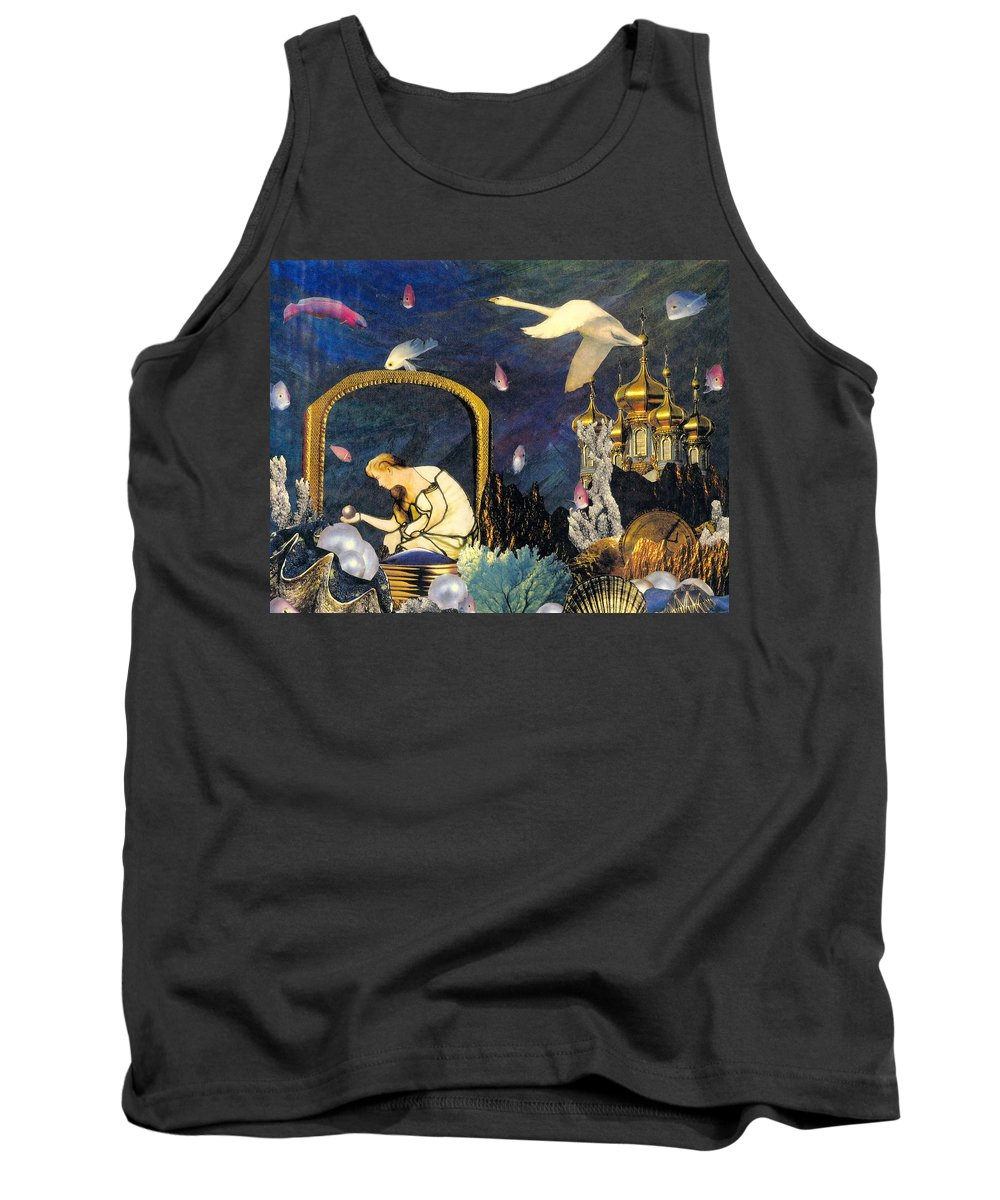 Surealism Tank Top featuring the mixed media The Pearl Of Great Price by Gail Kirtz