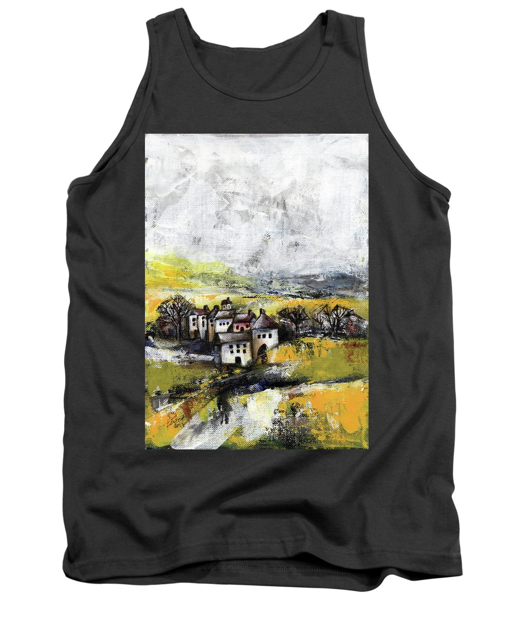 Landscape Tank Top featuring the painting The Pink House by Aniko Hencz