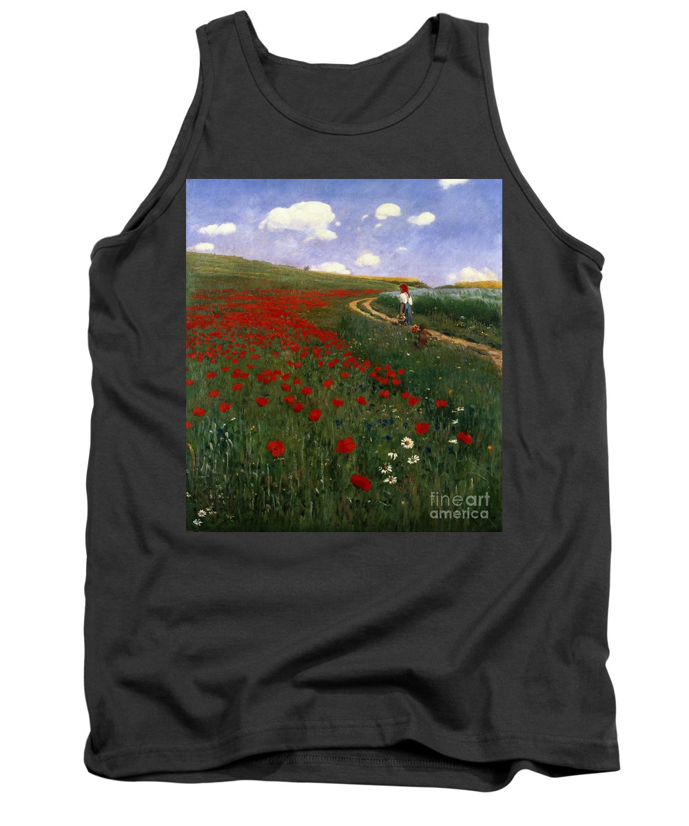 The Poppy Field By Pal Szinyei Merse (1845-1920) Tank Top featuring the painting The Poppy Field by Pal Szinyei Merse