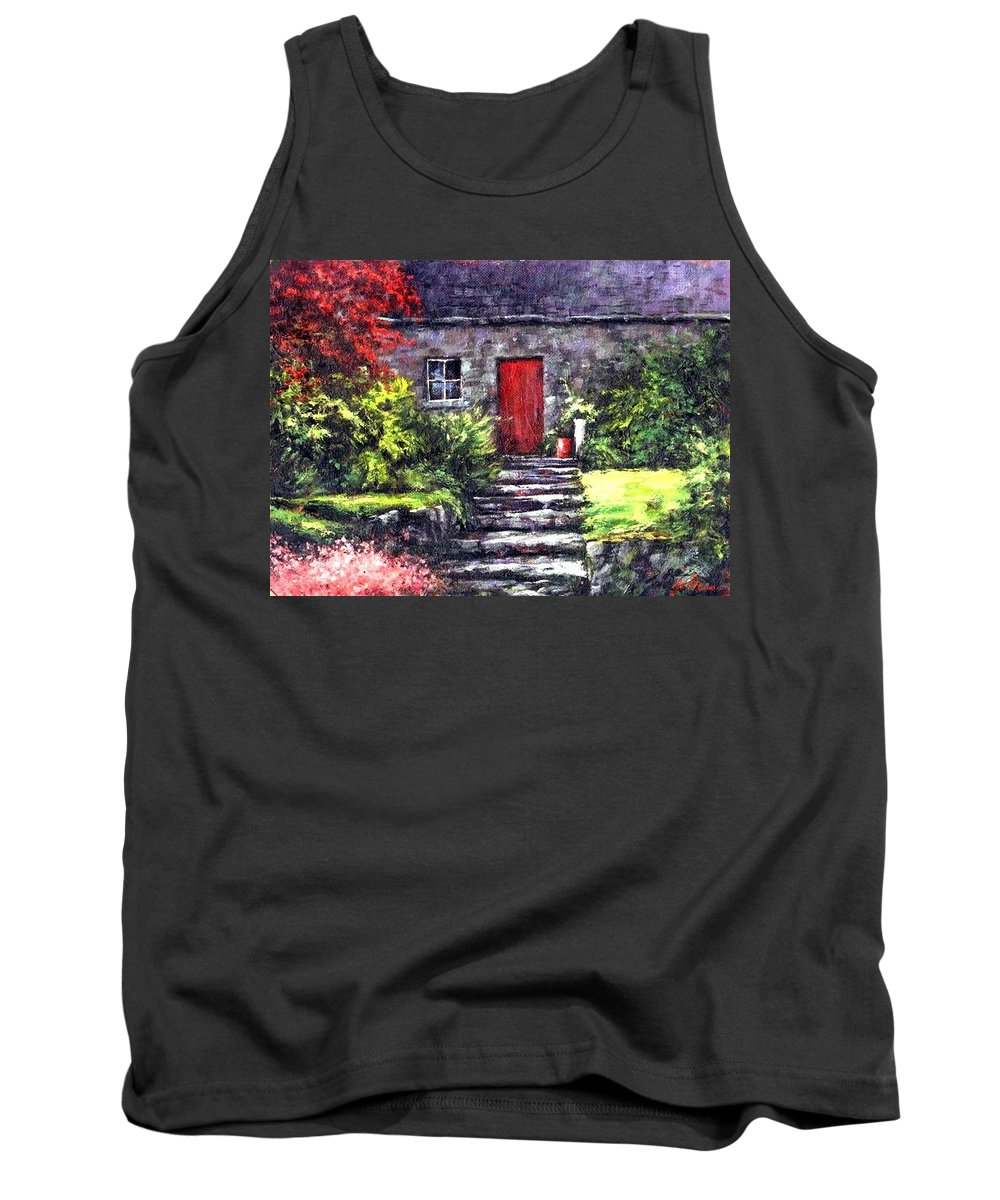 Ireland Tank Top featuring the painting The Red Door by Jim Gola