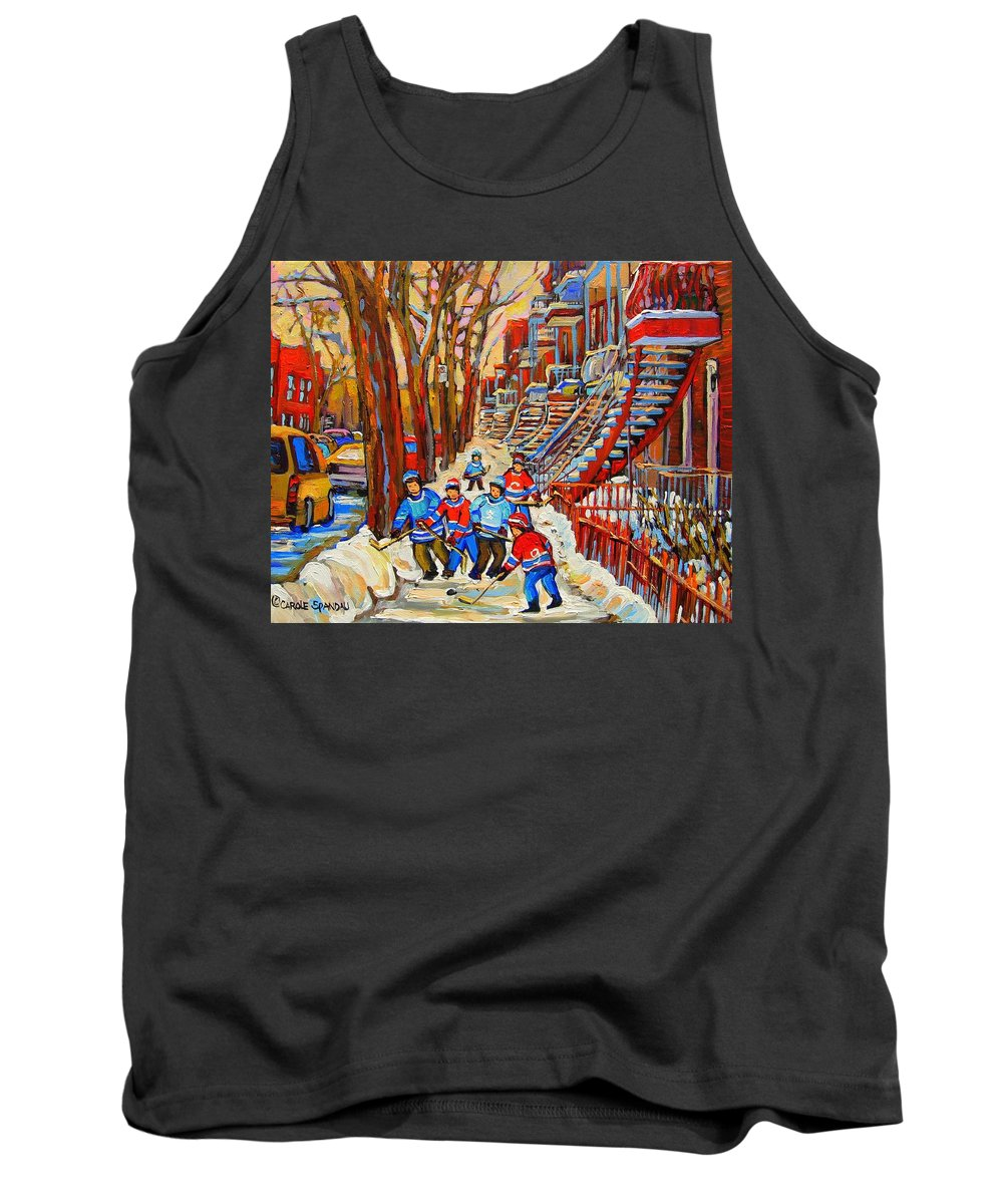Tank Top featuring the painting The Red Staircase Painting By Montreal Streetscene Artist Carole Spandau by Carole Spandau
