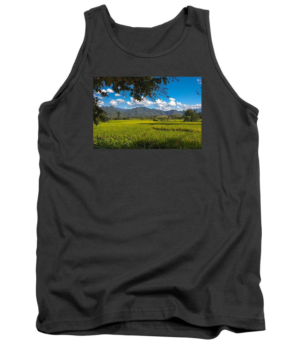 Mountain Tank Top featuring the photograph The Rice Fields Of Pai, Thailnad by Nomadic Ninja Negativs
