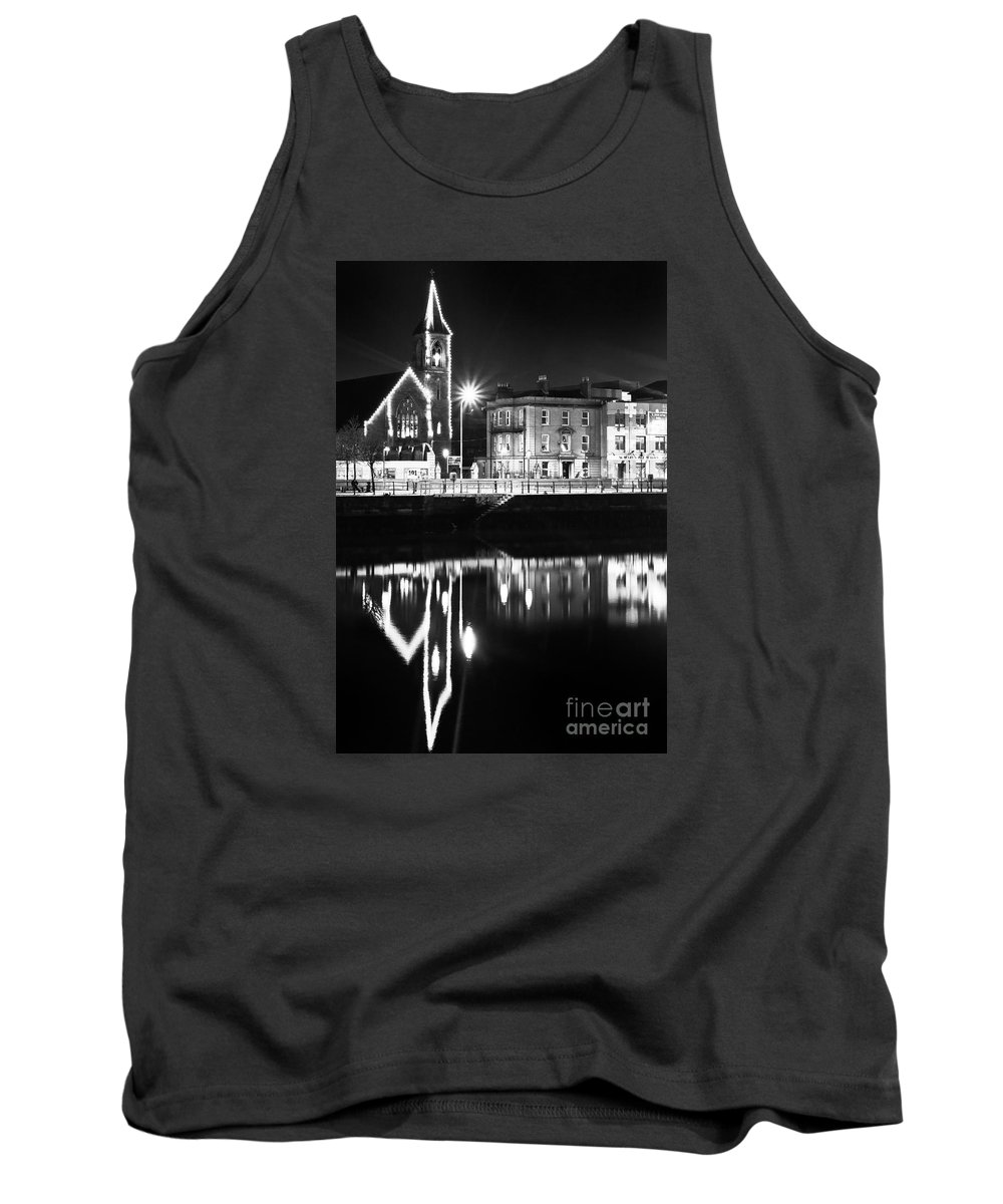 River Liffey Reflections Tank Top featuring the photograph The River Liffey Reflections Bw by Alex Art and Photo