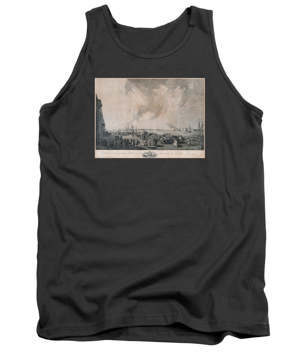 The Panorama Shows The River Neva With A Staffage Of Ships And Commerce On The Quay. Tank Top featuring the painting the river Neva by Celestial Images