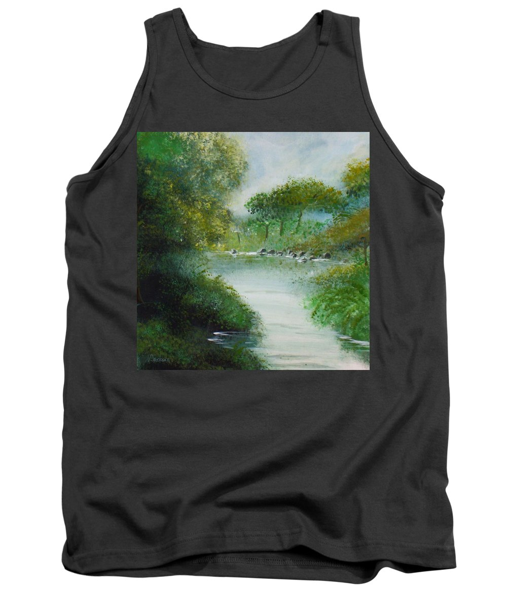River Water Trees Clouds Leaves Nature Green Tank Top featuring the painting The River by Veronica Jackson