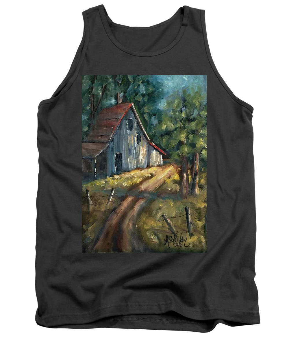 Barn Tank Top featuring the painting The Road Leads Home by Angela Sullivan