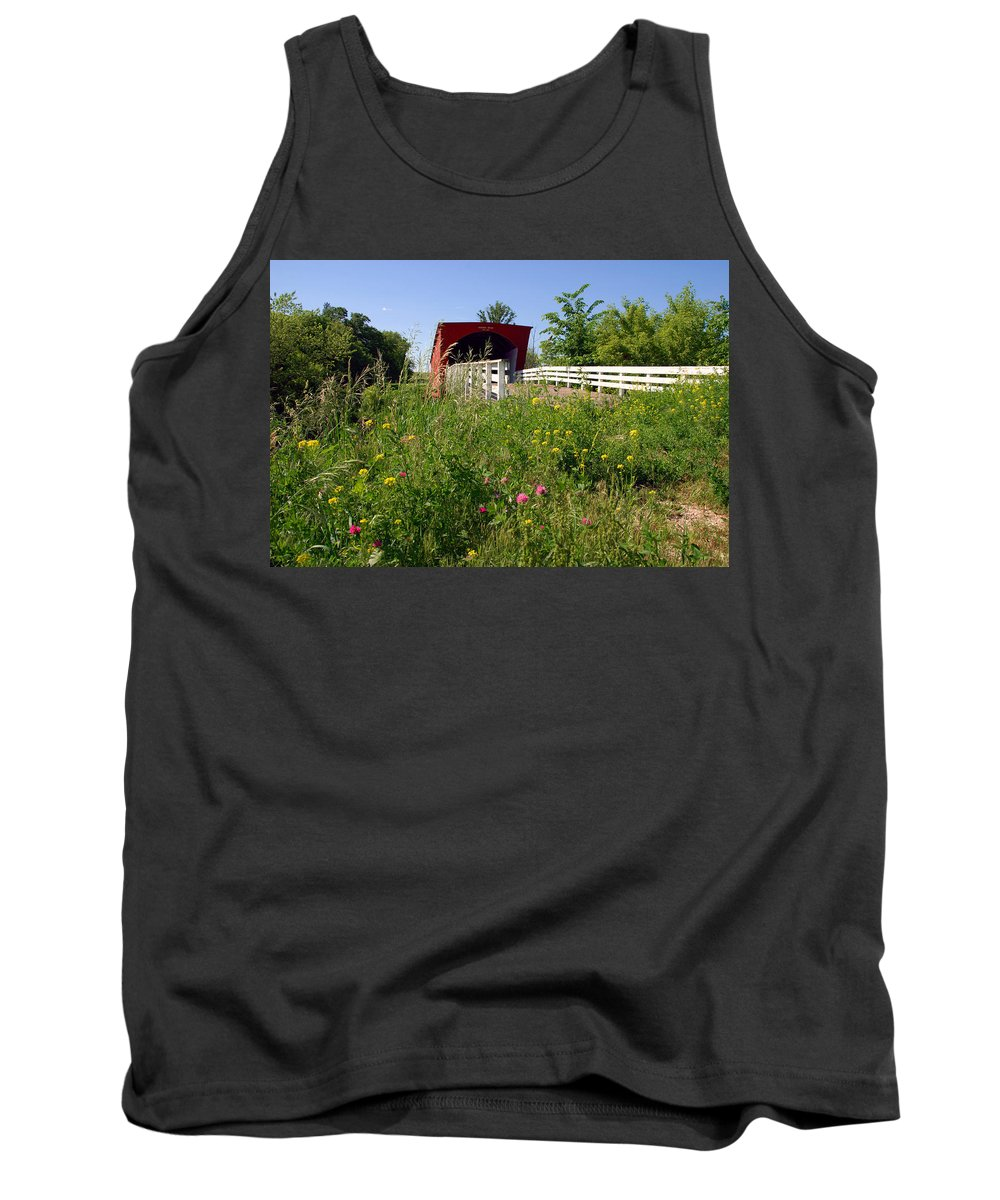 Photography Tank Top featuring the photograph The Roseman Bridge In Madison County Iowa by Susanne Van Hulst