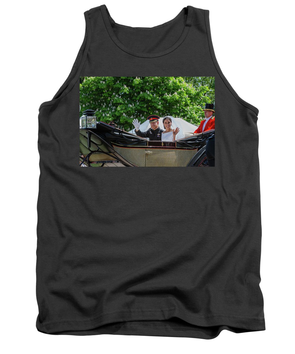 Meghan Markle Tank Top featuring the photograph The Royal Wedding Harry Meghan by Andy Myatt