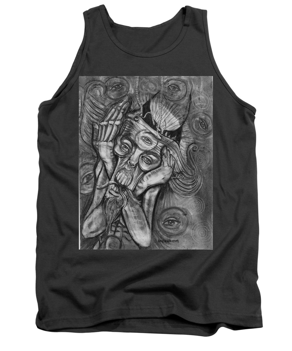 The Scream Tank Top featuring the drawing The Scream by Americo Salazar