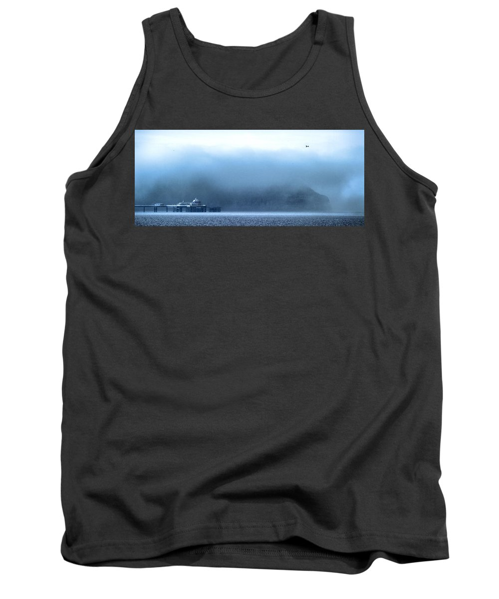 Pier Tank Top featuring the photograph The Sea Mist Lifts To Reveal The Great Orme Behind Llandudno Pier by Mal Bray