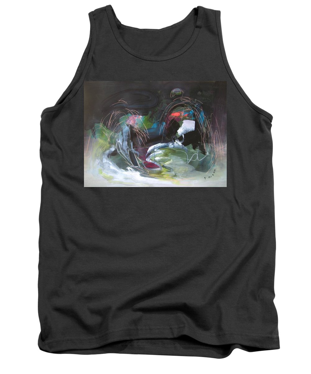 Abstract Tank Top featuring the painting The Secret Of The Shadow Original Abstract Colorful Landscape Painting For Sale Red Blue Green by Seon-Jeong Kim