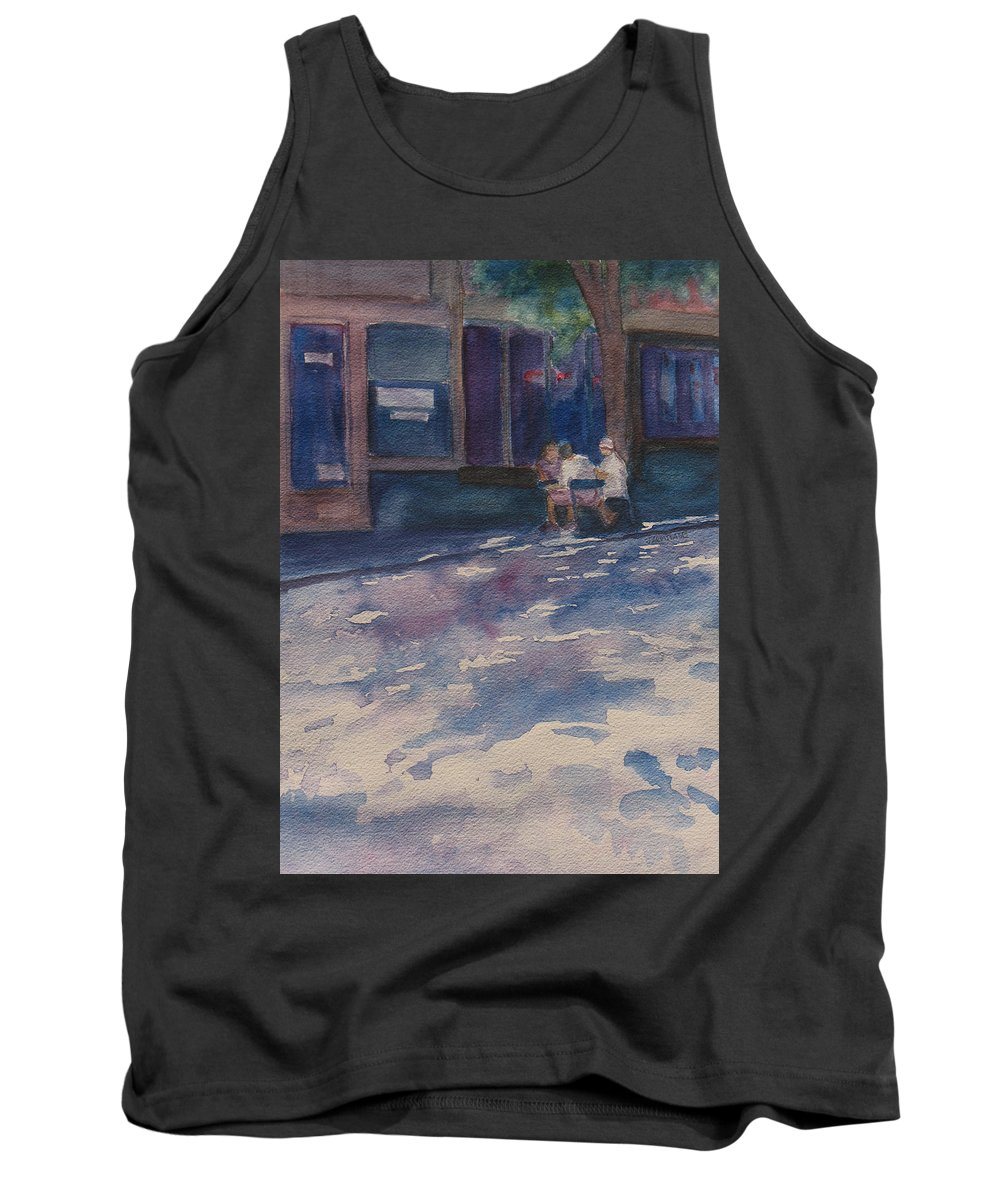 Shadow Tank Top featuring the painting The Shady Side Of The Street by Jenny Armitage