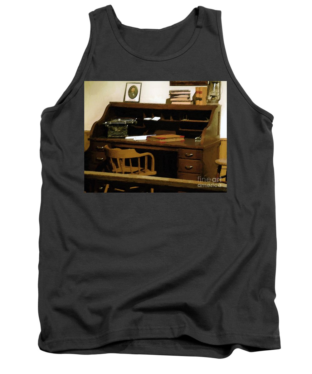 Antiques Tank Top featuring the digital art The Sheriff Is Out by RC DeWinter