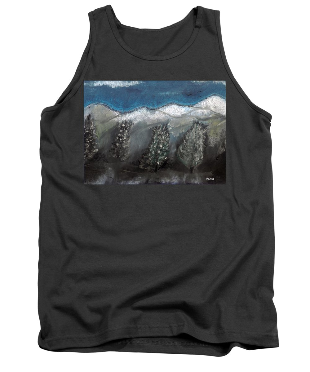 Trees Tank Top featuring the pastel The Snow by Melvin Moon