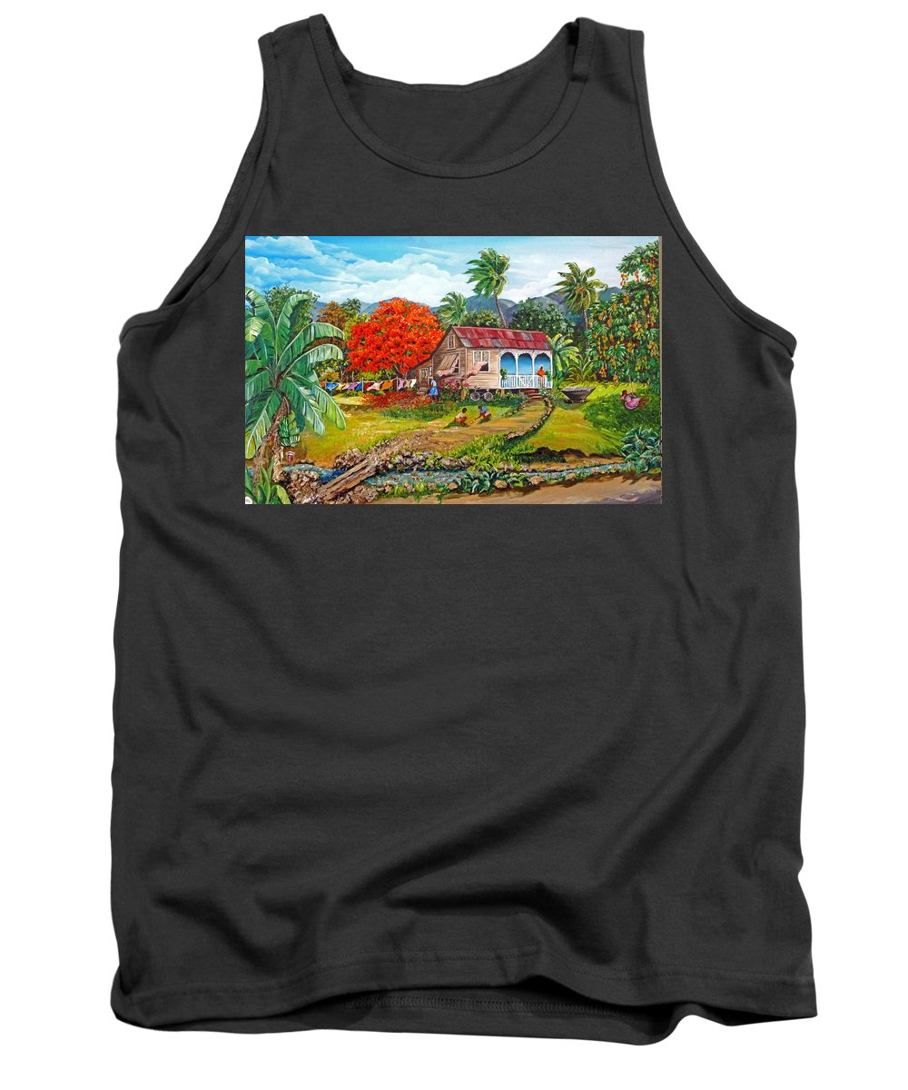 Tropical Scene Caribbean Scene Tank Top featuring the painting The Sweet Life by Karin Dawn Kelshall- Best